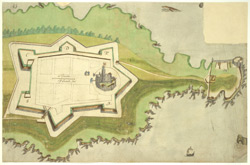 A coloured plan of Falmouth Fort (Pendennis Castle); drawn temp. Elizabeth  Publication Details: ca. 1590-1598